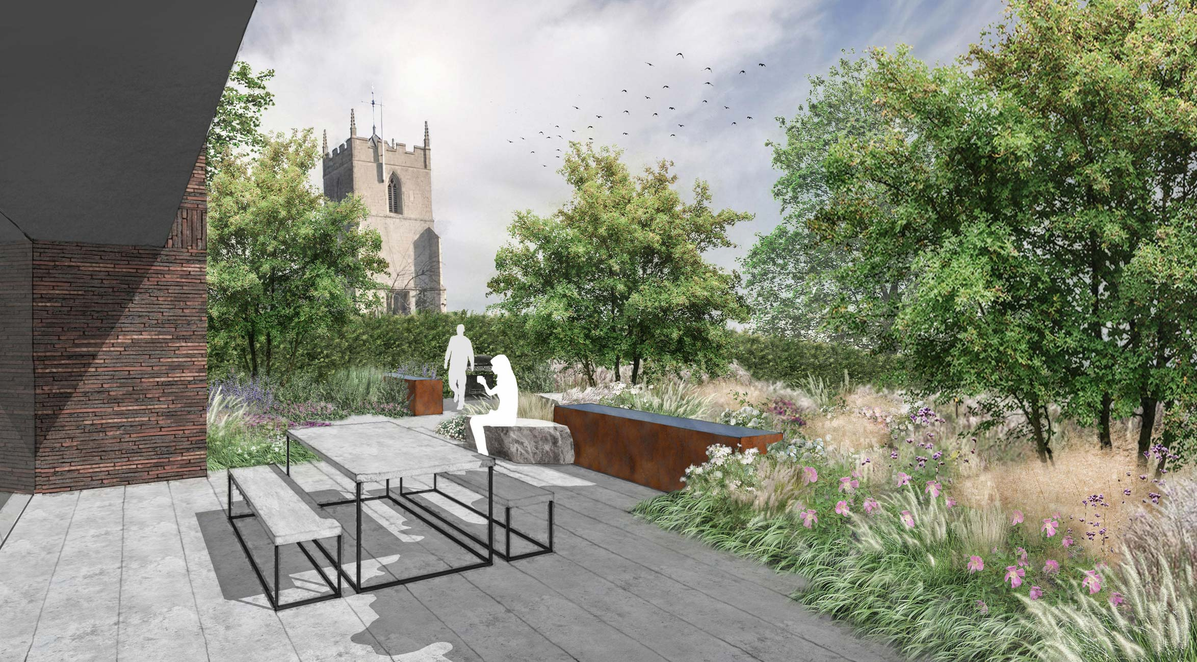 Colm Joseph Gardens - cambridgeshire garden main terrace limestone corten water feature rose meadow church view