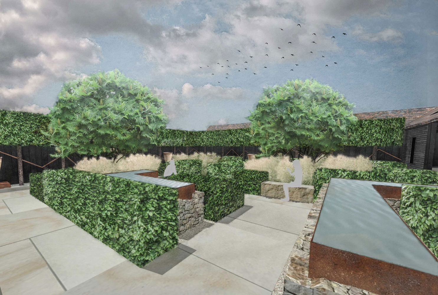 Colm Joseph Gardens - Courtyard gardens sandstone corten water features pleached trees modern design