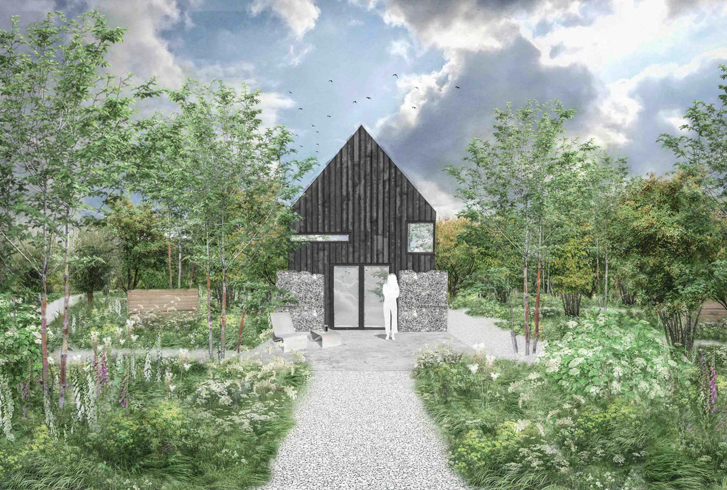 Colm Joseph Gardens  Field Barn Suffolk modern studio architecture contemporary design woodland garden