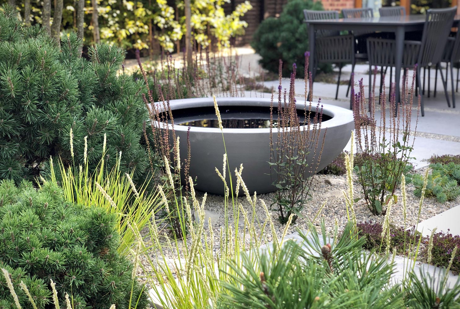 Colm Joseph Gardens bury st edmunds suffolk water feature dining terrace naturalistic planting